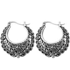 hoops earrings india bohemian tibetan vintage silver big filigree earrings for