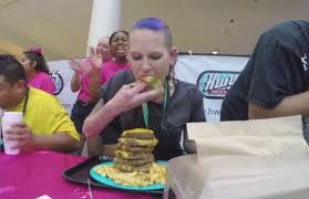 100 pound nc mom breaks world record in hamburger eating contest