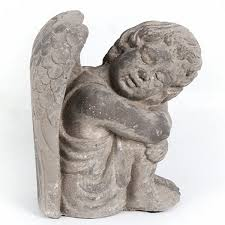 grey cherub garden ornament statue cherubs