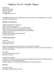 truck driver resume exles driver resume objective exles company sle print