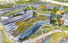 google unveils plans for enormous green roofed expansion of