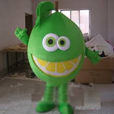 Halloween Mascot Costumes Professional Custom Green Lemon Mascot Costumes Fruit Mascot
