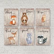 Woodland Animals Nursery Decor Woodland Nursery Set Of 6 Woodland Theme Baby Shower Gift Boys