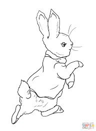 peter rabbit is going into the garden coloring page free