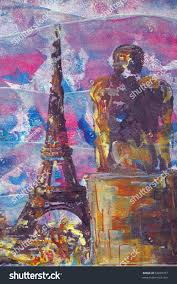 original oil painting eiffel tower statue stock illustration