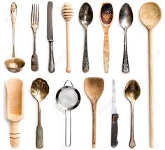 Kitchen Utensils Photo Collage Of Wooden Or Metal Kitchen Utensils Isolated On