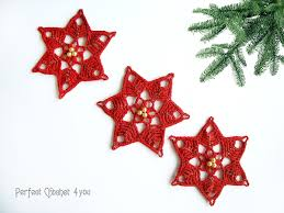 crochet christmas decoration poinsettia tree ornaments christmas