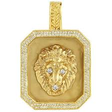 custom pendant 14k yellow solid gold mens diamond custom made lion dog tag