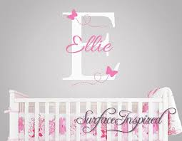 Wall Name Decals For Nursery Nursery Wall Decals Ellie With Flying Butterfles Name Wall Decal