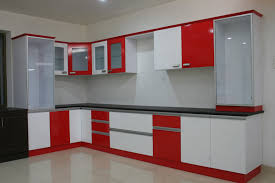 witching modular kitchen design ideas with l shape and white red