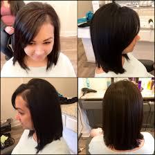 black hair swoop bang lob long bob swoop bang long layers medium to short hair cut