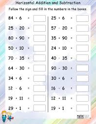 addition worksheets for grade 1 horizontal addition and subtraction mathsdiary