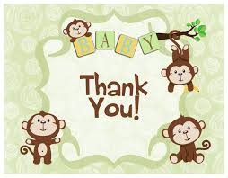 boy monkey baby shower thank you cards baby shower mania