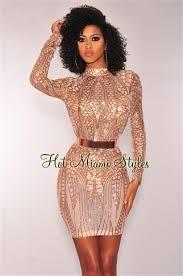 sequin dresses gold sequins mock neck sleeves dress