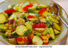 european cuisine european cuisine avocado quail egg and potato salad with