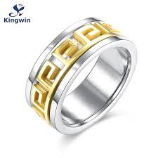 aliexpress buy gents rings new design yellow gold designer titanium steel men s ring 9 ct two tone gold color