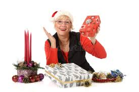 what to get an elderly woman for christmas cheerful middle aged woman christmas gifts stock image image of