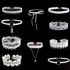 white lace choker necklace images 10pcs white flower lace velvet choker necklace chain collar punk jpg