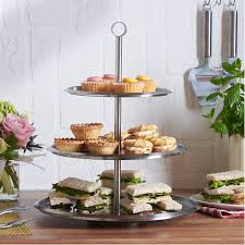 Halloween Cake Plate Stand by Amazon Com Vonshef 3 Tier Stainless Steel Cake Serving Stand