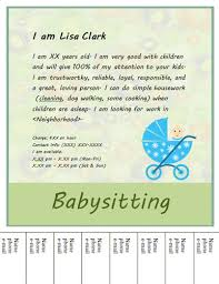 simple tear off babysitting flyer free flyer template by hloom