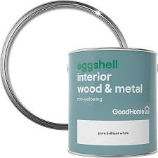 best non yellowing white eggshell paint goodhome brilliant white eggshell metal wood paint 2 5l