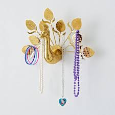 Jewelry Wall Hanger Gold Peacock Wall Jewelry Organizer The Land Of Nod