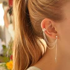 2017 18k gold earrings simple unique design silver pleated