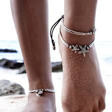 starfish barefoot sandals black rope starfish anklet bracelet women boho shoes barefoot