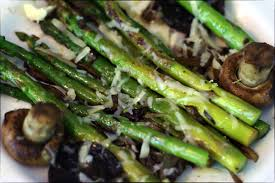 butter lemon asparagus with cremini mushrooms shallots and