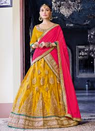 buy cheap and best yellow net wedding wear heavy embroidery work
