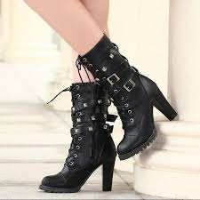 womens size 12 mid calf boots womens studded high heel mid calf rivet buckle lace up
