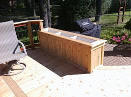 cedar deck designs benches and decks imanada also with planters