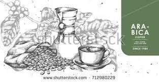 vintage black coffee coffee bean sackcloth stock vector 712980229