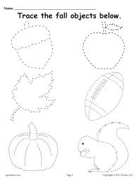 free printable fall tracing worksheet tracing worksheets