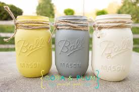 yellow gray white shabby chic painted mason jars idealpin