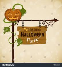 vintage halloween cartoons vintage card cartoon pumpkin pointer wooden stock vector 212875948