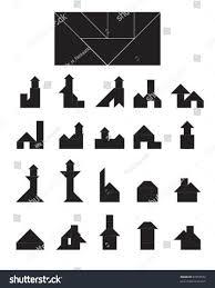 vector tangram building collection house short stock vector