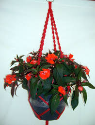 handcrafted unique summer red spiral macrame hanging plant flower