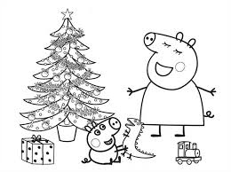 peppa pig george opened christmas present coloring