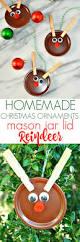 homemade christmas ornaments mason jar lid reindeer homemade