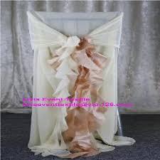 Chiffon Chair Sash 100pcs Chiffon Chair Cover Hood With Fancy Ruffled Sash Back For