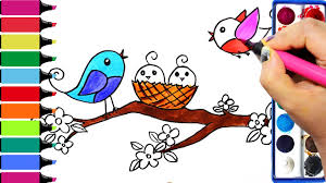 draw color paint birds nest flowers coloring pages and learn