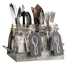 dining room seagrass flatware caddy with iron divider for kitchen