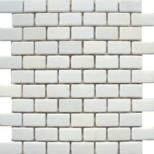 Brick Tile Kitchen Backsplash For Kitchen Backsplash A Matt White Natural Stone Mosaic Tile In A
