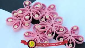 new art u0026 craft how to make beautiful quilling pink white flower