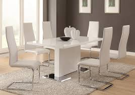 Dining Room Inspiration Sleek White Table With Ivorybeige Dining Chairs Top Off The