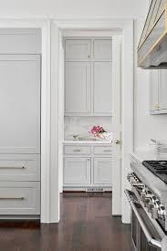 gold door knob on white pantry pocket door transitional kitchen