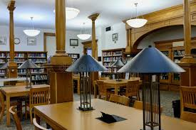 lighting for reading room library reading room with tables and modern ls stock photo