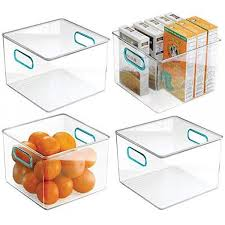 kitchen food storage pantry cabinet mdesign plastic food storage container bin with handles for kitchen pantry cabinet fridge freezer cube organizer for snacks produce vegetables