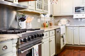 Glass Backsplash Tile Ideas For Kitchen Decor Oak Kitchen Cabinets With Simple Amerock And Peel And Stick